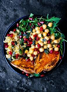 moroccan chickpea quinoa and sweet potato lunch bowls