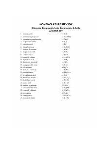 mixed nomenclature practice answers nomenclature review molecular compounds ionic compounds