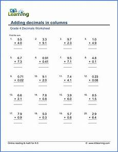 decimal word problems worksheets for grade 5 7546 grade 4 decimals worksheets free printable k5 learning