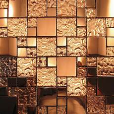 Mosaic Tiles Kitchen Backsplash Copper Metal Pattern Textured Glass Mosaic Tile Backsplash