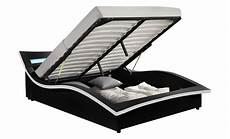 cadre de lit avec coffre vermon cadre de lit 224 coffre avec led noir 160x200cm