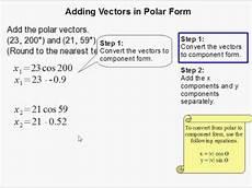 vector polar form how to add vectors in polar form youtube