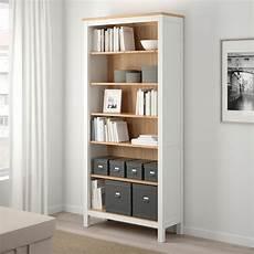 hemnes bookcase white stain light brown ikea