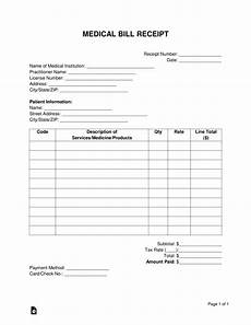 free medical bill receipt template pdf word eforms