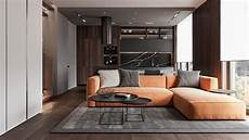Penthouse Interior Design With Orange Accents penthouse interior design with orange accents