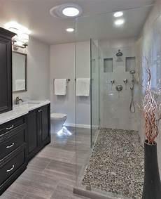 Bathroom Ideas Floor by Pebble Shower Floor Bathroom Transitional With Bath