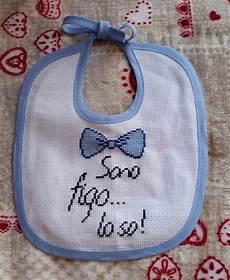 lettere punto croce per bavette bavaglino punto croce azzurro papillon products punto