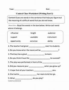context clues worksheet writing part 1 intermediate free