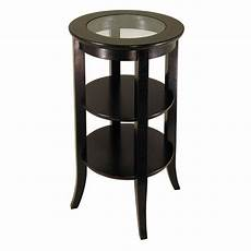Wood End Table With Glass Top