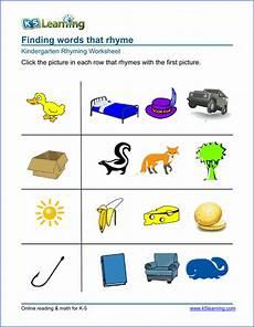 free preschool kindergarten rhyming worksheets printable k5 learning