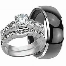 his hers 3 pc black tungsten mens wedding band ring womens stainless steel ebay