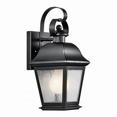 kichler vernon 12 5 in h black outdoor wall light at lowes com