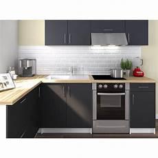 cuisine noir pas cher obi cuisine compl 232 te d angle l 2m80 gris mat achat