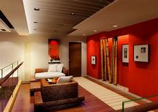 Deko Wohnzimmer Wand - wohnzimmer deko bambus dekoration wand rot knall farben