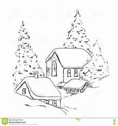 Ausmalbilder Haus Mit Schnee Winterhintergrund Haus Und Baum Im Schnee Gestalten