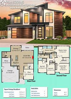 sims 3 modern house floor plans plan 85208ms angular modern house plan with 3 upstairs