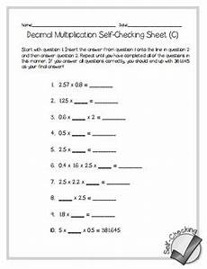 decimal multiplication self checking worksheets differentiated