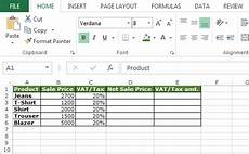 how to calculate vat in microsoft excel other q a formulas
