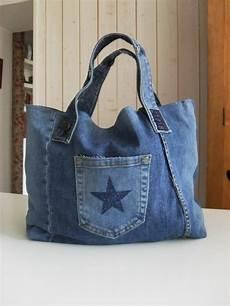 sac cabas en jean recycl 233 poche etoile bleu navy