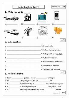 basic english test 1 english esl worksheets
