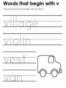 letter v worksheet for kindergarten 23545 standard block printing tracers beginning consonant sounds