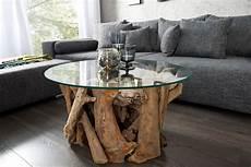 couchtisch mit glasplatte design couchtisch nature lounge 60cm teakholz mit runder