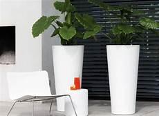 Pot Fleur Interieur Vaso Resina Tondo Alto 85 Col Bianco Antracite