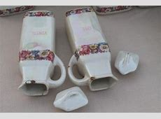 antique china canister set, early 1900s vintage