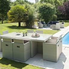 salon de jardin encastrable r 233 sine tress 233 e gris 1 table