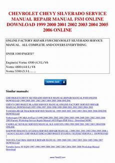 car repair manuals online pdf 2001 chevrolet silverado 2500 electronic valve timing chevrolet chevy silverado service manual repair manual fsm 1999 2000 2001 2002 2003 2004 2005 by