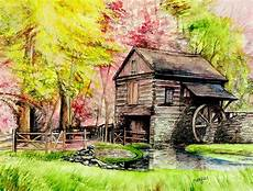watermill at cutalossa pennsylvania painting by fitzsimons