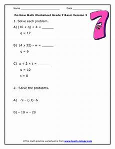do now math grade 7 basic version 3