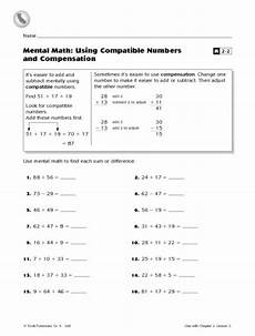 mental math using compatible numbers and compensation worksheet lesson planet mental math