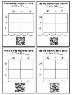 decimal worksheets with models 7336 multiplication with area models and partial products qr code task cards multiplication 4th
