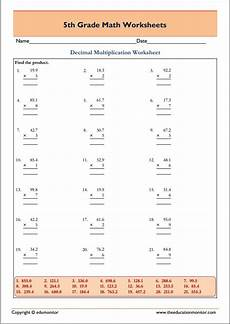 decimal multiplication worksheets grade 5 edumonitor