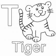 ausmalbild buchstaben lernen t wie tiger kostenlos