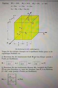 resultierendes moment an einem 3 dimensionalen w 252 rfel
