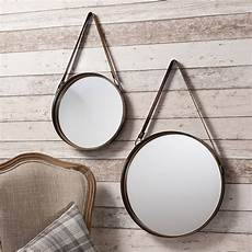 industrial hanging mirror set with leather by