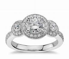three stone milgrain halo diamond engagement ring in 14k white gold 1 2 ct tw blue nile