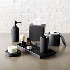 rubber coated black bath countertop accessories cb2