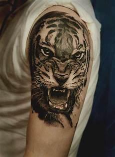 Grey Realistic Tiger On Shoulder For
