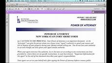 how to fill in a new york power of attorney form youtube