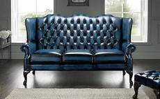 blue chesterfield 3 seater high back chair designersofas4u