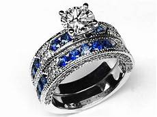 engagement ring vintage engagement ring blue sapphire accents matching wedding band es739brbs