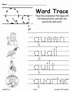 letter tracing worksheets q 23275 letter q words free alphabet tracing worksheet supplyme