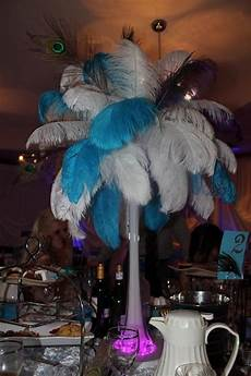 12 ostrich peacock feather wedding centerpieces