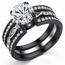 s 2 ct black stainless cz bridal engagement wedding ring ebay