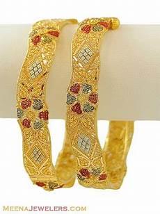 22k gold tricolor kada 2 pcs baka8172 22k three tone filigree kada 2 pcs beautifully