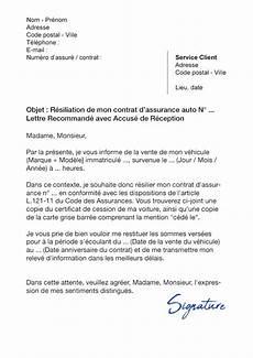 resiliation assurance auto vente lettre de r 233 siliation assurance auto suite 224 une vente