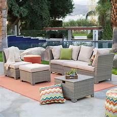 natural outdoor wicker resin patio furniture conversation